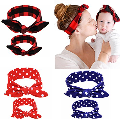 Itaar Baby and Mother Headband Set Hair Bows Turban Head Wrap Knotted Hair Band 3 Colors