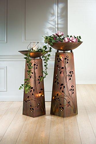 Metall Schalenständer Ginkgo 1 Stück L 0 x B 0 x H 102 cm Kupfer/Patina grün,Best.aus Ständer+Schale
