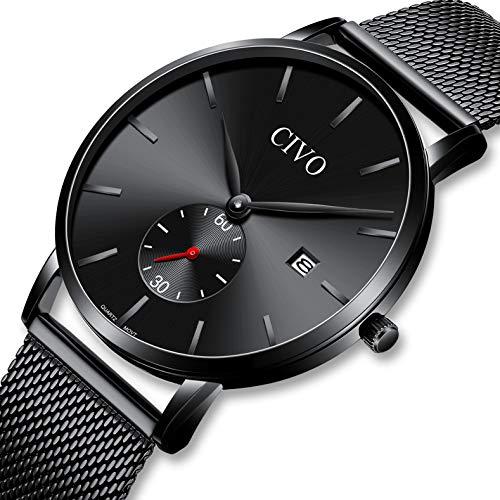 CIVO Relojes Hombre Lujo Impermeable Negro Reloj de Acero Inoxidable Moda Deportivo Caballero Analogico Casuales Clásico Negocios Calendario Relojes de Pulsera para Hombres