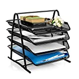#9: SEPAL 4-Tier Metal Mesh Organizer Tray for A4 Documents/Papers/Files/Folders/Magazine Desk Holder Stand (Black)
