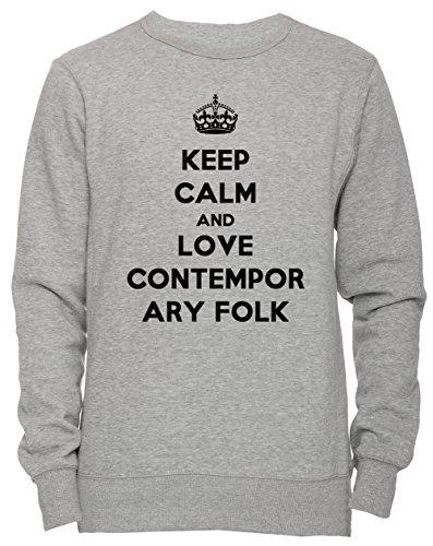 Keep Calm And Love Contemporary Folk Unisex Herren Damen Jumper Sweatshirt Pullover Grau Größe XL Men\'s Women\'s Grey X-Large Size XL