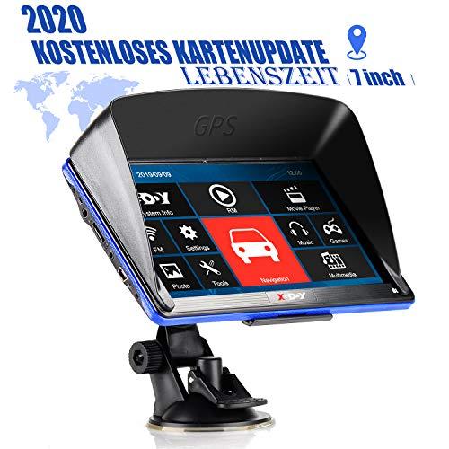 Xgody 886F GPS Navigationsgeräte für Auto,7 Zoll 8GB Motorrad Navi für LKW PKW mit POI Blitzerwarner Sprachführung Fahrspurassistent,2020 EU&UK Lebenszeit Kostenloses Kartenupdate