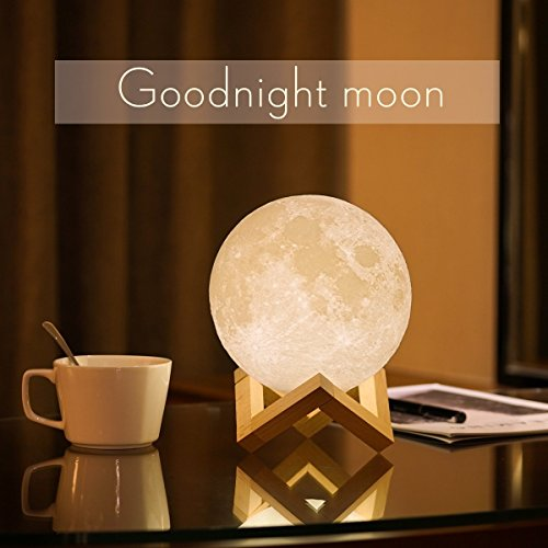 3D Moon Lamp, USB LED Mood Light Magical Lunar Desk Lamp Moonlight Gift, 2 Colors-White & Warm Yellow, Two Tone Touch Sensor with Wooden Holder & Portable Box(10cm/3.94inch)