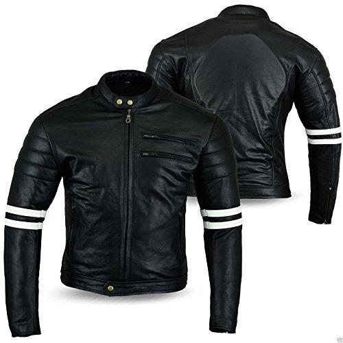 Australian Bikers Gear Motorrad-Jacke, Retro-Stil, schwarzes Leder , weiß gestreift -