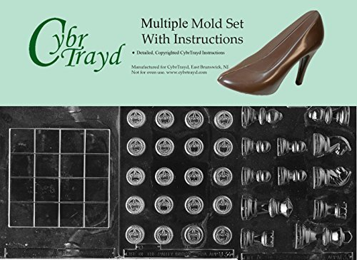 Cybrtrayd BUN-M033M034M035 3-Piece Chess and Checkers Pieces and Board Chocolate Molds by CybrTrayd