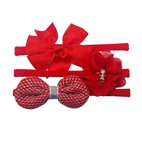 3Pcs Bowknot Haarband Set | VENMO elastisches Blumenstirnband | Perlenhaar Mädchen Baby Stirnband | Stirnbänder verknotete Stirnband Turban Headwrap | Knot...