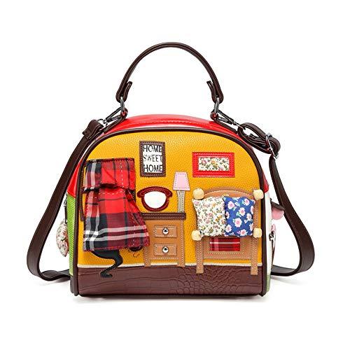 Valentoria Home Theme-Handmade - Bolso de Mano para Mujer con Costuras de Bordado Grandes, Color de Contraste, Bolso de Hombro, Bolso de Mano para Mujer Amarillo Amarillo L