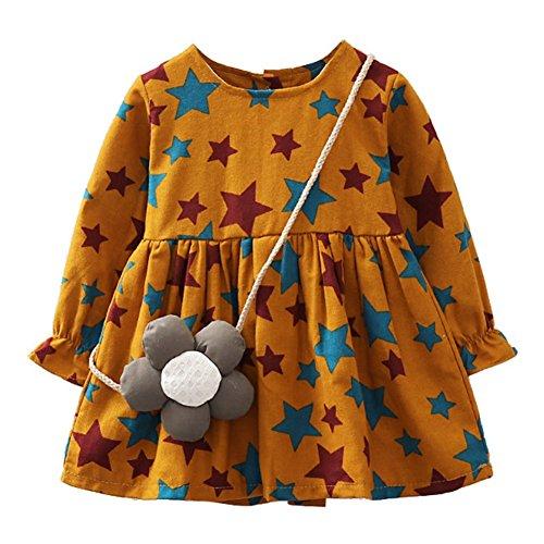 Wongfon Baby Kleider Mädchen Fünfzackigen Star Print Rock Prinzessin Kleid für 6 Monate-3 Jahre Kinder (Print Dress Star)