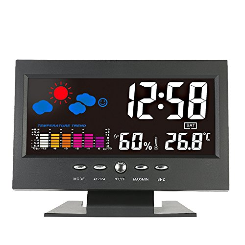 KKmoon ° C / ° F Lcd DigitalMedidor de Humedad de TemperaturaReloj Tendencia Del Calendario...