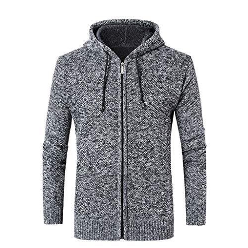 Lihua Herren Pullover Chunky Knit Pullover Funnel Neck Hergestellt aus 100% Baumwolle (Farbe : Gray, größe : XXL) Mens Funnel Neck Jacket