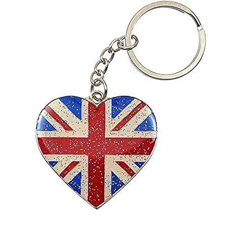 Funky Retro en Forme de Coeur Union Jack Drapeau Britannique Glitter Porte-clés