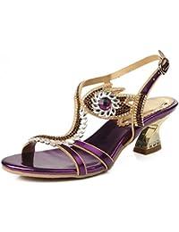 SYYAN Mujeres PU Piedras de Strass Hueco Punta Abierta Hecho a Mano Vestir Sandalias Púrpura, 38, purple
