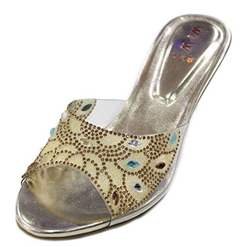W & W femmes Mesdames Soirée Diamante moyen Sandales talon antidérapant sur fête mariage mariée chaussures taille, or (san1018) Or - doré