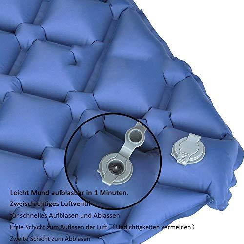 GEEDIAR Isomatte Camping aufblasbare Luftmatte mit Kissen 190x59x6 cm Farbe dunkel blau, ultraleicht tragbare Luftmatratze für Camping Ausflug Deppel Zelt inkl. kleinem Packsack - 6