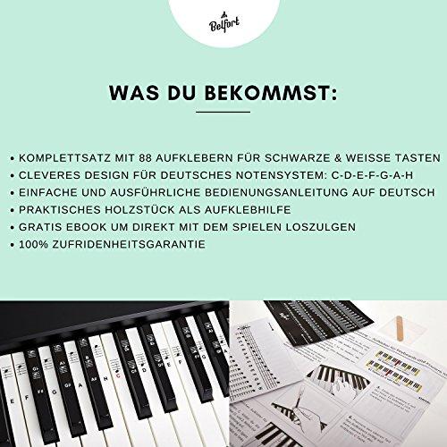 Klavier + Keyboard Noten-Aufkleber für 49 | 61 | 76 | 88 Tasten + Gratis Ebook | Premium Piano Sticker Komplettsatz für schwarze + weisse Tasten | C-D-E-F-G-A-H | einfache Anleitung auf Deutsch - 7