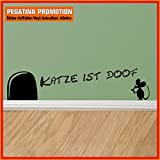Mäuseaufkleber, Wand-Aufkleber Maus, Wandtattoo für Fussleiste / Wand / Treppe etc. ca. 20 cm breite Maus mit Schriftzug Motiv5