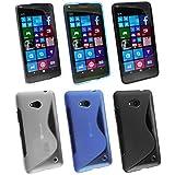 Emartbuy® Microsoft Lumia 640 3G 4G LTE / 640 3G 4G LTE Dual Sim Ultrafina a Presión TPU Gel Funda Carcasa Case Cover Paquete de 3 - Blue, Claro & Negro