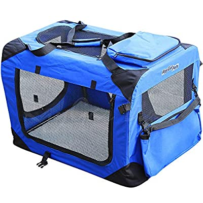 RayGar® BLUE DOG PUPPY CAT PET FABRIC PORTABLE FOLDABLE STRONG SOFT CRATE CARRIER PET KENNEL CAGE from RayGar
