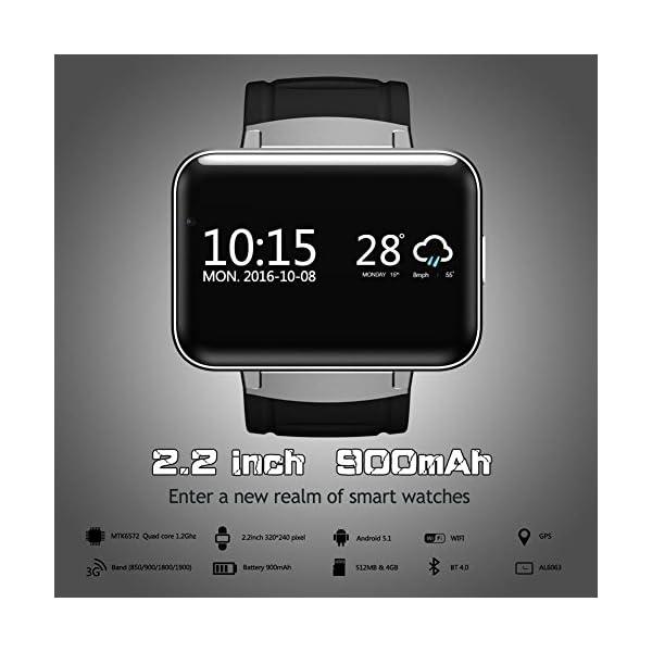 "OOLIFENG Bluetooth Reloj Inteligente DM98 Pantalla 2.2"" Sistema operativo Android 4.4 con WiFi GPS para Android Teléfono Inteligente 3"