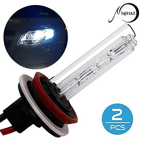 Mihaz Super helle 12V 55W H11 Xenon HID Lampen 6000K Pack 2 Scheinwerfer Nebelscheinwerfer Ersatzlampen Umrüstsatz (2ST 55W H11 Birnen)