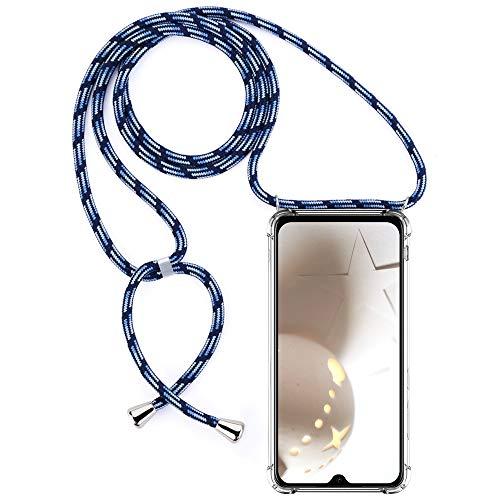 CLM-Tech Carcasa con Cuerda para Colgar Compatible con Xiaomi Mi 9 SE - Funda Silicona Transparente con Cordon para Llevar en el Cuello, Azul Negro