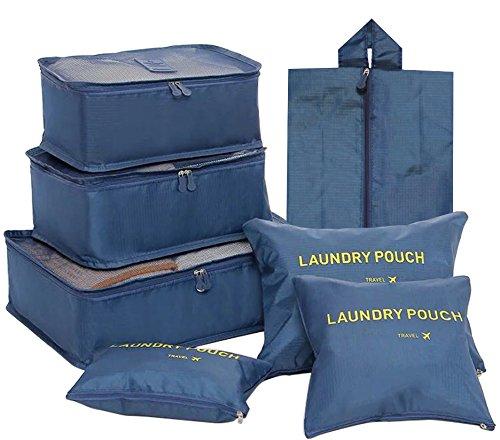 FunYoung Kleidertaschen-Set 7-teilig Reisetasche in Koffer Wäschebeutel Schuhbeutel Kosmetik Aufbewahrungstasche Farbwahl (Grau) Schwarzblau