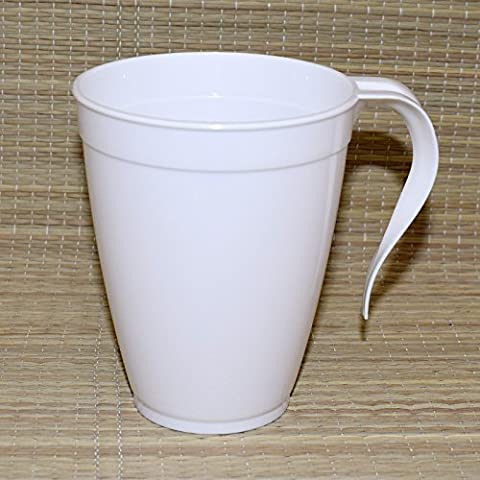 Plastique jetables Tasses à thé et à café/mugs avec poignée 226,8gram/227ml Bon pour fête X10Lot blanc