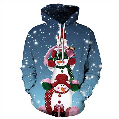 LUOYLYM Camicia A Maniche Lunghe Cappotto Pupazzo di Neve Natale Stampa Digitale Coppie Maglione con Cappuccio Sport di Grandi Dimensioni Marea Autunnale Qyxh077 XXXXL