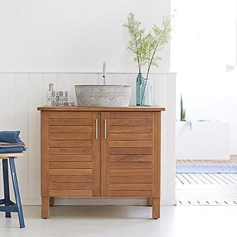 Tikamoon 853 Soho Meuble Salle de bain Teck Beige 85 x 55 x 75 cm