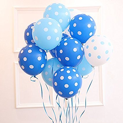 (light blue & drack blue) colour Polka Dot Balloons -pack of 200
