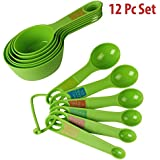 Okayji Plastic Measuring Cups And Spoon Set With Ring Holder, 12 Piece Set, (Green)