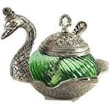 Crafticia Oxidized White Silver Metal Single Duck Shaped Glass Bowl Green Decorative Antique Unique Traditional Handmade Handicraft Gift Item Home Table Wall Decor Pink City Rajasthani Showpiece :- 5 X 5 Inch