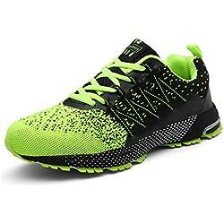 SOLLOMENSI Zapatillas Hombres Deporte Running Zapatos para Correr Gimnasio Sneakers Deportivas Padel Transpirables Casual Montaña 39 EU A Verde