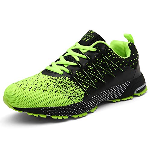 SOLLOMENSI Laufschuhe Damen Herren Sportschuhe Straßenlaufschuhe Sneaker Joggingschuhe Turnschuhe Walkingschuhe Schuhe 43 EU A Grün