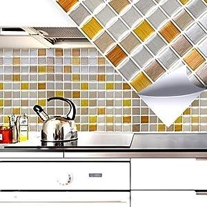 Grandora 4er Set 25,3 x 25,3 cm Mosaik 3D Fliesenaufkleber W5287 selbstklebend Küche Bad Wandaufkleber Fliesendekor Folie Kupfer Gold Silber
