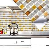 Grandora set di 4 25,3 x 25,3 cm in rame oro argento mosaico d I 3D adesivo per piastrelle autoadesivo cucina bagno murale decorazione foglio W5287