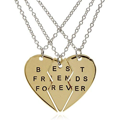 Beste Freunde für immer Halsketten für 3 Gold überzog Herz-Anhänger BFF Freundschaft-Charme für Frauen Männer (Beste 3 Mann Kostüme)