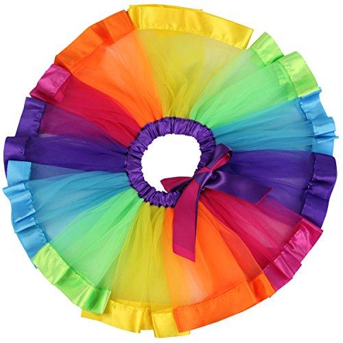 Jastore ® Mädchen Layered Regenbogen-Ballettröckchen-Tanz-Rock- Ballettröckchen-Rock Clubwear (L für 5-8 (Kostüme Tier Tanz)