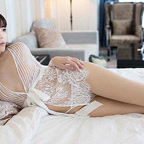 HL-PYL Unterwäsche - Spitzen Nachthemd Dünne Fat Suit Inneneinrichtungsgegenstände Siamesische Pyjama Perspektive,F,Weiße