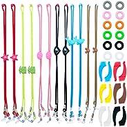 Pack de 12 cordones para gafas infantiles con 12 pares de anillas y ganchos de silicona ajustables y antidesli