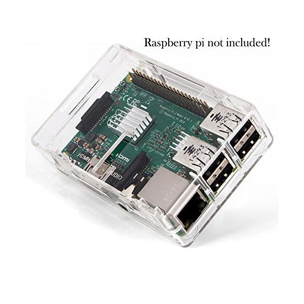 51Wjt%2BwfgtL. SS600  - Aukru NUEVO 3-EN-1 Kit de Raspberry Pi 2 Modelo B/B + transparente Caja + 5v 2000mA alimentación + 3 conjunto del disipador de calor