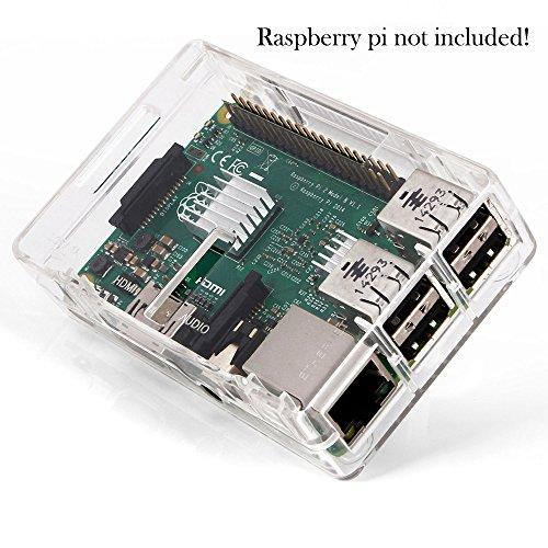 51Wjt%2BwfgtL - Aukru NUEVO 3-EN-1 Kit de Raspberry Pi 2 Modelo B / B + transparente Caja + 5v 2000mA alimentación + 3 conjunto del disipador de calor