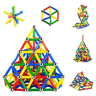 Accessorieskits524 206PCS Magnetic Sticks Magnetic Building Block Construction Stacking Toys Kindergarten Building Stick Set Parent-child Toys Innovative Puzzle Toys for Adults and Kids