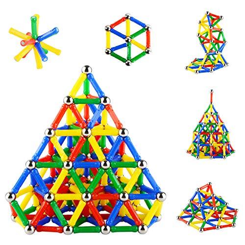 206PCS Magnetic Sticks Magnetic Building Block Construction Apilamiento Juguetes Kindergarten Building Stick Set Juguetes para padres e hijos Innovador Puzzle Juguetes para Adultos y Niños por Accessorieskits524 (Los colores pueden variar)