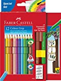 Faber-Castell 201289 Buntstift Colour Grip, 12 Farbstifte und 2 Connector Pen