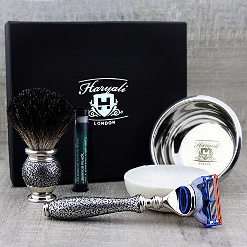 Vintage inspiriert Shaving Set - 4 Piece Reines Dachshaar Shaving Brush, Gillette Fusion Rasierer, Stainless Steel Shaving Bowl & Haryali London Premium Soap > Perfect for Wet Shaving - Great as a Gift - Silber Antik Kollektion by Haryali London - Gillette-vintage