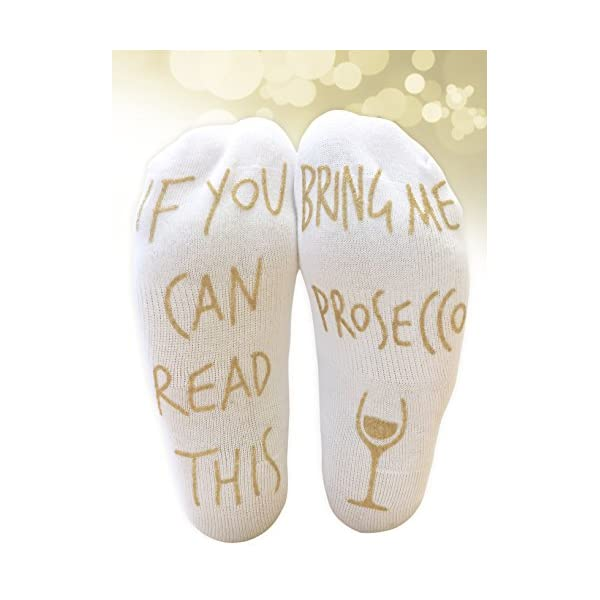 'If You Can Read This Bring Me Prosecco' Funny Ankle Socks – Perfect Wine Lover Gift! 51WjuepQ9LL