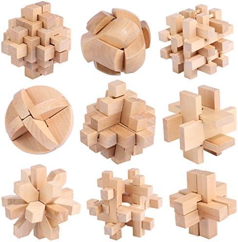 Forweilai 9 pièces Bois Puzzle, 3D Puzzle Bois Casse-têtes Casse-têtes Casse-têtes Brain Teasers pour   | Bonne Réputation Over The World  975b45