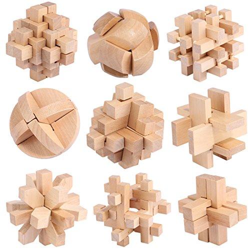 YAHAMA 9Stück Knobelspiele Holz Geduldspiele Set Geschicklichkeitsspiele Holz Denkspiel Kinder und Erwachsene