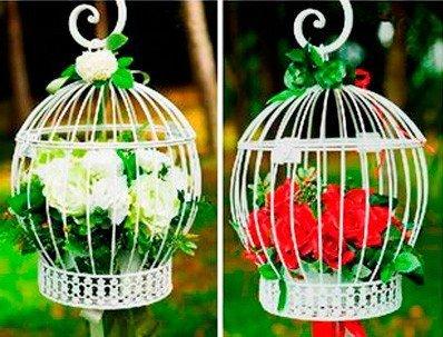Käfig Dekoration Weiß (Einzelpreis)–Vogelkäfig Deko für Wohnung, Häuser, Hochzeiten und Zeremonien